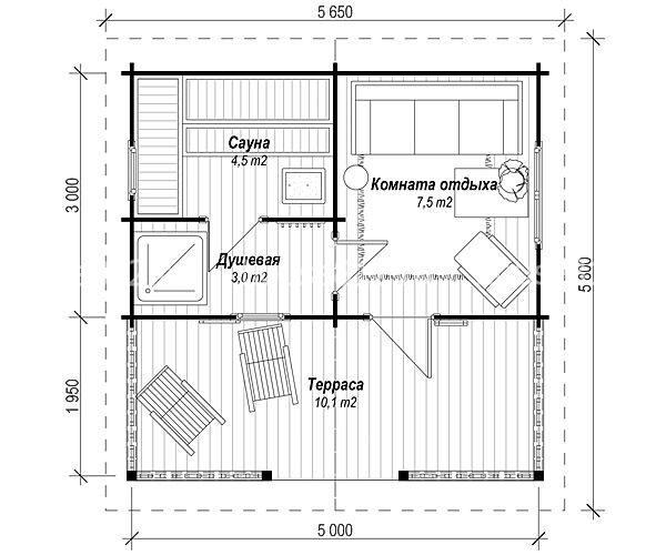 проекты бань с комнатой отдыха и сараем